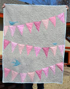 Cute idea - Modern Baby Girl Quilt With Bunting Pennant Banner and Birds via Etsy-  golden paisley