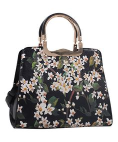 Another great find on #zulily! Black Contrast-Handle Floral Tote #zulilyfinds