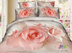 Buy Pink Rose Bedding Set - High Quality Printed Duvet Cover Pillow Case and Sheet queen size- Super Soft, Comfortable And Machine Washable - Cotton (Comforter not included) at Wish - Shopping Made Fun 3d Bedding Sets, Cotton Bedding Sets, Bedding Sets Online, King Comforter Sets, Duvet Bedding, Floral Sofa, Floral Bedding, Sofa Bed Set, Hotel Collection Bedding