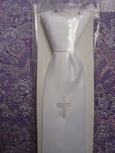 Boys First Communion Tie with Cross by LaceandGraceVeils on Etsy, $17.00