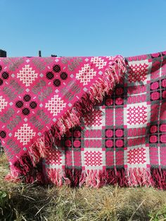 Vintage Welsh tapestry double bed cover in pinks , 2 matching available - no UK postage to pay. by foundandseekvintage on Etsy