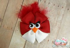 Items similar to Angry Bird Ribbon Sculpture Hair Clip, Angry Bird Hair Accessory Clip, Red, White, Feathers Hair Accessory on Etsy Ribbon Sculpture, Bird Sculpture, Ribbon Crafts, Ribbon Bows, Grosgrain Ribbon, Ribbons, Feathered Hairstyles, Diy Hairstyles, Boutique Hair Bows