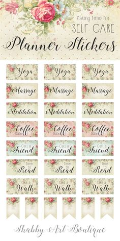 Make time for 'Self Care' in your yearly planner with these printable stickers from Shabby Art Boutique