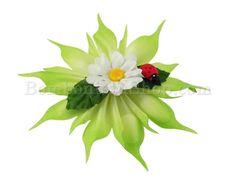 Coccarda con composizione fiore e coccinella sconto fine serie