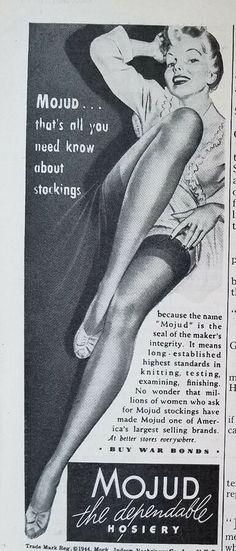 5ac0991b4ba 1944 Vintage Womens MOJUD Thigh High Hosiery Stockings Legs Original  Fashion Ad MOJUD Thigh