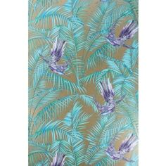 Sunbird Purple and Bronze Wallpaper from Osborne and Little Eden Collection. A delightful wallpaper designed by Matthew Williamson featuring colourful exotic birds darting between rich foliage in purple and turquoise on a metallic bronze background. Bronze Wallpaper, Bird Wallpaper, Geometric Wallpaper, Pattern Wallpaper, Bathroom Wallpaper, Wallpaper Samples, Wallpaper Online, Wallpaper Ideas, Modern Wallpaper Designs