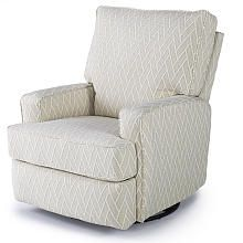 Best Chairs Kersey Upholstered Swivel Glider Recliner  Alabaster