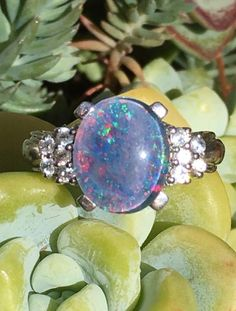 Ring Sterling Silver with Opal & White Topaz Size: 7