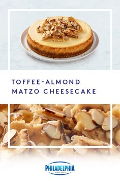 Creamy cheesecake plus crunchy toffee-almond matzo equals the best Passover dessert on the table. Passover Desserts, Passover Recipes, Jewish Recipes, Cheesecake Recipes, Dessert Recipes, Almond Toffee, Queso, Holiday Recipes, Food Processor Recipes