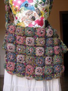 Soft Messenger Bag  - chunky crochet squares