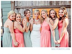 Pink And Green Bridesmaids Dresses That Work So Well Together