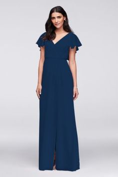 Flowy flutter sleeves, a deep V-back, and a slim grosgrain ribbon waistband provide pretty detail to this classic, crinkle chiffon gown. Polyester Back zipper; fully lined Dry clean Imported