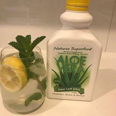 Pool side drink - healthy mojito style. Ice, water, aloe Vera, lemon & mint xx #detox #alcoholfree #delicious