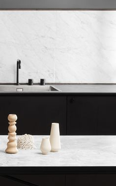 From the massive Dining Table 230 to the critically acclaimed Desk in black marble, all HANDVÄRK tables are meticulously designed in Denmark and characterized by aesthetic sustainability: a timeless object in a quality that lasts a lifetime. Black Kitchens, Black Marble, Sink, Dining Table, Design, Home Decor, Minimalism, Marble, Sink Tops