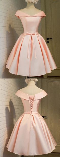 Cute Prom Dress,Satin Homecoming Dress,Off the Shoulder Graduation Dress,Knee-Length Short Prom Dress