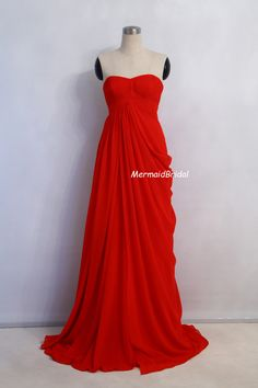 2013 Simple Chiffon Red Prom Dresses, A-line Evening Gown Sweetheart Neckline, Long prom dresses. $156.99, via Etsy.