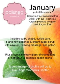january peaches and cream pedi of the month! book to support blue ridge women's center 2014