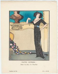 """""""Faites Entrer! - Robe de dîner de Dœuillet,"""" Gazette du Bon Ton, French, December 1912, By Francisco Javier Gosé, Museum of Fine Arts, Boston."""