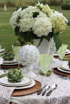 Alfresco Tablescape ~ White and Green