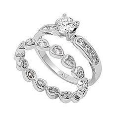 Ronda's 1CT Brilliant with Heart Shape Band CZ Wedding Ring Set