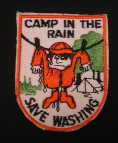 $4.99 Patch CAMP IN THE RAIN Tent Clothes Line SAVE WASHING Cartoon Character