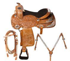 Western Show Reining Horse Leather Saddle 16 17