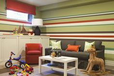 Love those stripes!  Would be great for a family room as well....can imagine a great wall of b/w photos here!