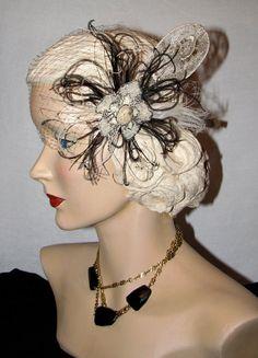 feather wedding hair pieces | ... Hair Piece Fascinator Antique Victorian Lace Steampunk Bridal