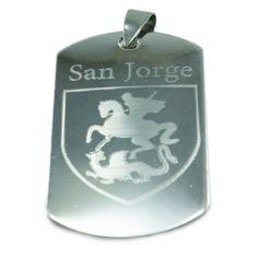 Medallas De Santos Grabada En Acero Flask, Saints, Saint George, Minerals, Gems, Printmaking, Steel