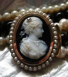 Victorian onyx and cultured pearl cameo necklace, c. 1880.