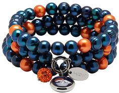 NFL Denver Broncos Dyed Freshwater Cultured Pearl Team Logo Charm Stretch Bracelet Set