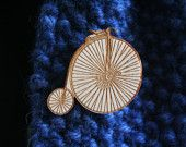Laser etched vintage penny farthing brooch - twice designs