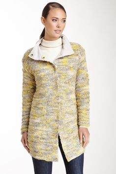 Lafayette 148 Long Sleeve Hand Knit Funnel Neck Wool Coat