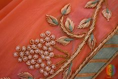Peach Pure Chinon Crepe Gota Patti Work Saree Source by naizzeba work Saree Embroidery Design, Zardosi Embroidery, Embroidery On Kurtis, Hand Embroidery Dress, Embroidery Neck Designs, Embroidery Motifs, Embroidery Suits, Embroidery Fashion, Embroidered Clothes