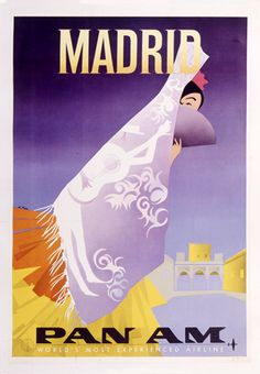 VINTAGE MADRID SPAIN PAN AM AIRLINES ART POSTER AD