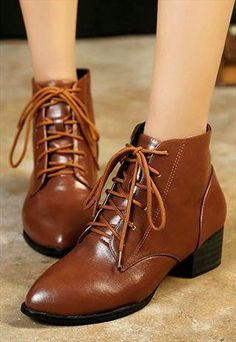 Brown Drawstring Ankle Boots