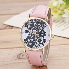 Retro Spitzen Uhr Lederausstattung Leichtmetall Damen Analoge Quarz Armbanduhr Pink - http://uhr.haus/sanwood/pink-retro-weltkarte-uhr-lederausstattung-damen-2