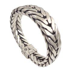 John Hardy Sterling Silver Woven Chain 16mm Men's Bracelet - Pre-Owned
