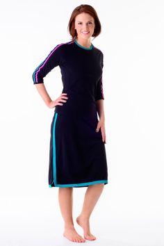 c1cc646533 Double Stripe Swim n  Sport 3 4 Sleeve Active Wear Shirt  HydroChic