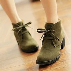 Women's Shoes Round Toe Chunky Heel Ankle Boots More Colors available – USD $ 32.99