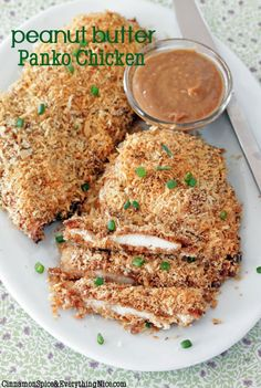 Oven Fried Peanut Butter Panko Chicken with Coconut Noodles | Cinnamon Spice & Everything Nice