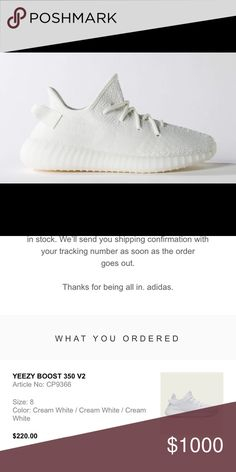 a96887a1591bb Selling this DEADSTOCK Yeezy 350 Boost V2 Cream White on Poshmark! My  username is  clare98144.  shopmycloset  poshmark  fashion  shopping  style   forsale ...
