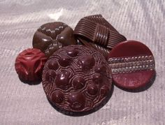 VINTAGE Glass BUTTONS Five 5 Chocolate Brown Glass by punksrus, $8.50