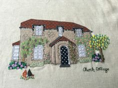 Homebroideries - handmade textile portrait of your house. These are hand and machine embroidered. Working from your photo your personalised portrait is created. They make a lovely housewarming gift or keepsake.