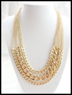 Layered Gold Chain Necklace Thick Chain Necklace Statement by 4YJD, $28.50