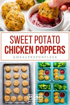 Sweet Potato Chicken Poppers - Meal Prep on Fleek™ Lunch Recipes, Breakfast Recipes, Healthy Recipes, Turkey Recipes, Healthy Meals, Dinner Recipes, Healthy Eating, Cooking Recipes, Paleo Meal Prep