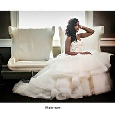 """Puffy strapless white wedding dress!  From instagram @Africanbridal Show's photo: """"What a striking pose!!! Ladies, remember to take one like this on your big day! @Raheem Rhphotoarts #bride #weddingdress #weddinggown #ido #justmarried #blackbride #blackbeauty #africanbridal #brideideas #brideinspiration #weddingphotography"""" #nigerianbride #nigerianweddings"""