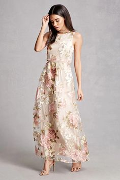 A sleeveless knit maxi dress featuring a sheer tulle top and skirt overlay, a floral print, a round neckline, and an exposed back zipper. This is an independent brand and not a Forever 21 branded item.