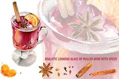 Hot red mulled wine with spices by WatercolorArt on @creativemarket