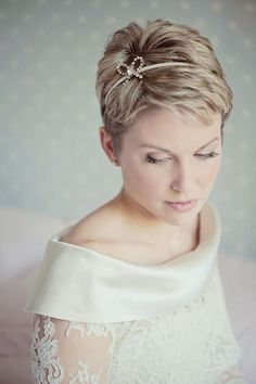 bride with short hair and diamante headband.
